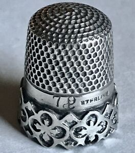 ANTIQUE STERLING SILVER PIERCED BORDER SIZE 7 THIMBLE