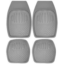Floor Mats for SUVs Trucks Vans 4pc Set All Weather Rubber Pan Tech Fit Grey