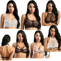 Sexy Women's Transparent Mesh See Through T-Shirt Lace Bra Tank Tops Blouse Vest