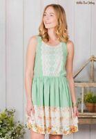 MATILDA JANE Women's LARGE Mint Green WHERE THE GRASS GROWS Sleeveless DRESS