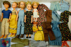 Lot Of Vintage 1970's Mattel Sunshine Family Dolls With Extra Clothes