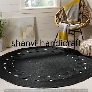 Black Colour Round Rug 6 Feet Braided Natural Jute Rugs Floor Mat Decor Area Rug