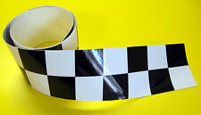 CAFE RACER 'Double' CHEQUERED HELMET TAPE sticker 1220x13mm 2 LENGTHS!