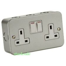 5 x Metal Clad Double / Twin Electrical Switch Socket  13amp