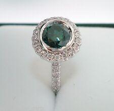 1.30 CARAT ENHANCED GREEN AND WHITE DIAMONDS HALO ENGAGEMENT RING 18K WHITE GOLD