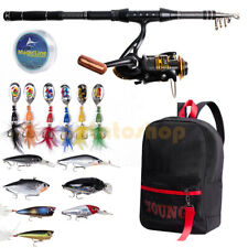 Spinning Fishing Rod Reel Combos w/ Carry Backpack Full Kit 1.8M Saltwater Bass