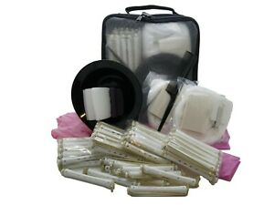 Hair Perm Kit Extra Tight Curls - 50 Rods Bowl Papers Cap Gloves Neck Wool