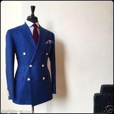 2017 Double Breasted Blue Men Groom Tuxedos Groomsmen Blazer Wedding Prom Suits+