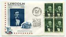 1113 1c Lincoln Sesquicentennial Lincoln Society of Philately block of 4 FDC