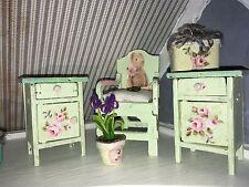 ♥ 2 Nachtschränke Tilda Rose  shabby chic Puppenstube 1:12 ♥ Miniatur Tilda