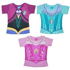 Official Disney Princess Frozen Kids Girls T-Shirt Anna Elsa Dress Up Ages 2-7