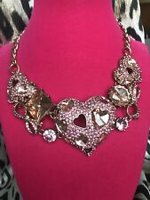Betsey Johnson Pinkalicious HUGE Pink Crystal Puffy Heart Jewel Gold Necklace