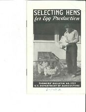 Selecting Hens for Egg Production - USDA Farmers' Bulletin No. 1727