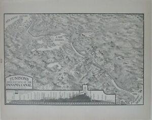 Original 1904 Bird's-Eye-View Map PANAMA CANAL Lake Bohio Dam Locks Profile Ship