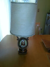 Vintage Signed C Miller Table Lamp 50's Mid-Century Hand Painted Jesus Portrait