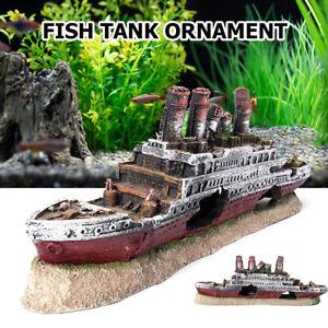Aquarium Ship Ornament Wreck Boat Fish Tank Cave Res Decoration 11 x 2 x 4   L0