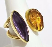18K Yellow Gold Open Bypass Genuine Amethyst and Citrine Ring Size 7