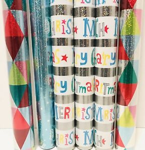 Hallmark 6 Rolls 30 Sq Ft Roll Premium Foil Christmas Wrapping Paper 2.5ft X 4 Y