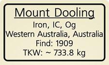 Meteorite label Mount Dooling