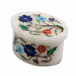 "2""x3"" Marble White Inlay Jewelry Lidded Box Inlay Lapis Pietradura Floral Art"