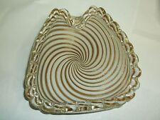 Fratelli Toso Copper Lattimo Pinwheel Mezza Filigrana 1950s Murano Glass bowl