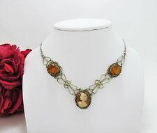 Vintage sterling silver cameo pendant with 2 golden topaz stones, statement