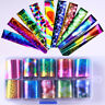10Pcs/Set Holographic Nail Art Foils Transfer Stickers Colorful Starry Sky Decal