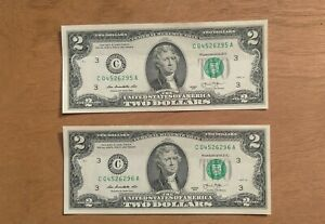 Lot of two 2013 Uncirculated Two Dollar Bills- Consecutive serial numbers!