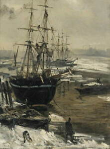 James Whistler The Thames in Ice Giclee Art Paper Print Poster Reproduction