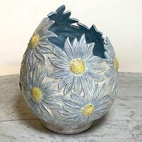 Vintage Retro Ceramic Egg-Shaped Daisy Vase Hand-Painted Luster Glaze