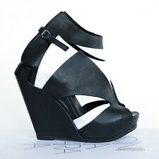 CINZIA ARAIA $900 black white high wedge heel booties Anne Santiago shoes 41 NEW