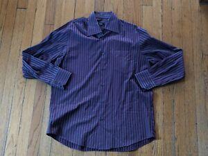 HUGO BOSS Men's Sz L Slim Fit Burgundy & gray stripes Dress Shirt 16 1/2 32/33