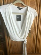 Forever 21 Crop Wrap Top Ivory Size XS New with Tags