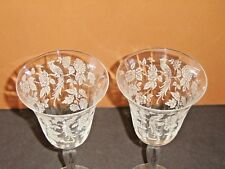 "2 Beautiful Morgantown CATHAY Crystal Etched Peacock Floral 7-3/4"" Water Goblets"