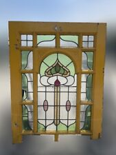 More details for reclaimed leaded light stained glass art nouveau wooden window panel