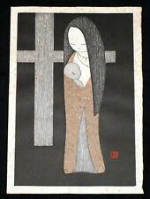 1955 Japanese Woodblock Print Madonna & Child by Kawano Kaoru (1916-1965)(***)