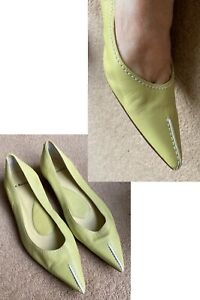 LK BENNETT Lime Green Leather Pointed Flat Shoes EUR40