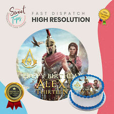 ASSASSINS CREED ROUND EDIBLE BIRTHDAY CAKE TOPPER DECORATION PERSONALISED
