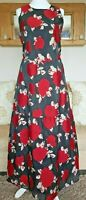 M&S dress 14 maxi black red floral long tall wedding 139