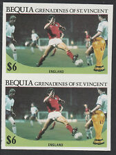 St Vincent Bequia (1976) - 1986 Worl Cup FOOTBALL IMPERF PAIR unmounted mint