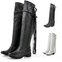 Plus Size Womens ladies tassel boots Cowboy Slim Ladies overknee booties shoes