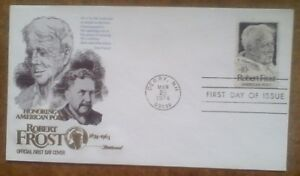First day of issue, 1974 Honoring American Poet, Robert Frost, Scott # 1526