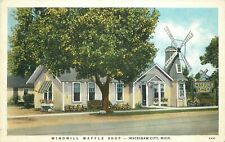 1920s Mackinaw City Michigan Windmill Waffle Shop Roadside Restaurant Postcard