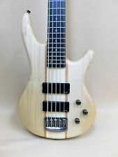 Haze B-337 American Ash / Maple 5-String Electric Bass Guitar HH Black + Gig Bag