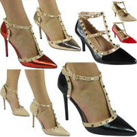 Womens Ladies Studded T-Bar Ankle Strappy Fashion Heels Party Shoes Sandals Size