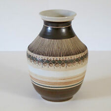 Pottery Vase with Hand Appliqued Bead & Geo Decoration in Polychrome Glazes