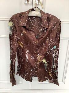 Just Cavalli 100% Silk Cosmos Luxury Shirt Long Sleeve Point Collar Medium 10/12