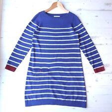 SEASALT Jumper Dress with Pocket Eastern Cotton & Wool Breton Stripe Blue UK 14