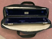 Wm S Haynes C foot kidskin flute case from the 1970s and cloth gig bag.