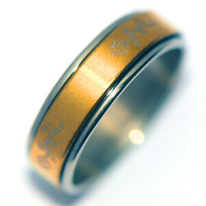 Cool Gold Stainless Steel Mens Ring Band Ring Spinner Rings Jewelry Size 9